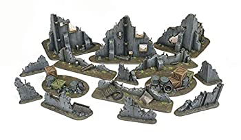 War World Gaming War Torn City Ruined Buildings Barricades and Rubble Set - 28mm Heroic Scale Wargaming Terrain Model Diorama Scenery Wargame Warhammer 40K Necromunda Tabletop Battle Destroyed City