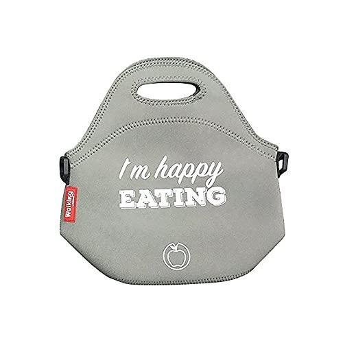 Bergner Bolsa de almuerzo de neopreno I'm happy eating ø30 x 17 cm gris