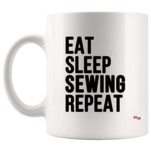 N\A Tazza da Sarcasmo Esilarante Tazza di caffè - Amico Tazze di Compleanno Mangia dormire Cucito Ripeti Riflessivo