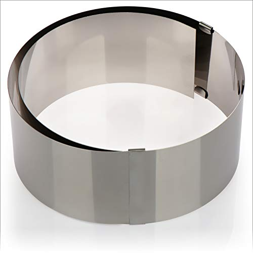 COM-FOUR® Anello per dolci con diametro regolabile in acciaio inossidabile - anello di cottura alto - anello per torta per impilare le basi per torta - da Ø 17,5 cm a Ø 30 cm