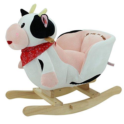 Sweety Toys 3563–Balancín Animales caballo balancín Vaca bordado con función Sonido 'Muh'