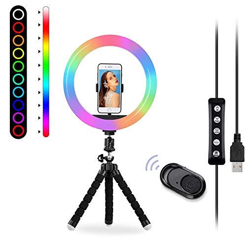 OCHO - Anillo de luz para selfies, 26 RGB con 2 trípode y soporte para teléfono, nivel de brillo ajustable, obturador remoto de cámara, para TikTok, YouTube, video
