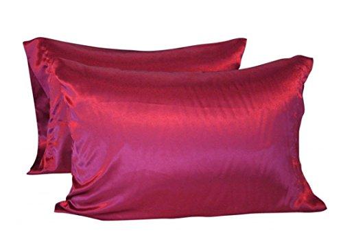 CHRISLZ Lot de 2 taies d'oreiller en soie Standard 50 × 75 cm Soyeux et sans plis, sans fermeture éclair, Red, 50*75cm