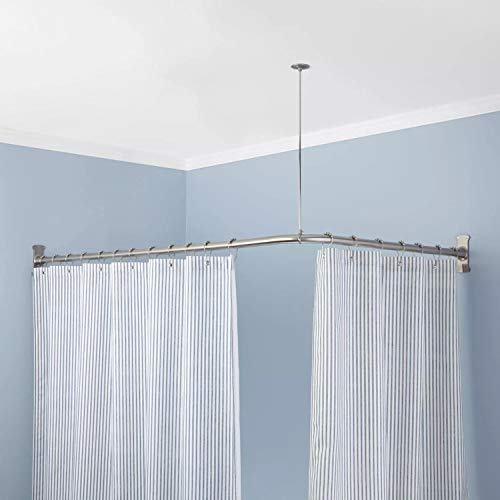 Naiture Stainless Steel 60'' x 30'' Corner Shower Curtain Rod with Ceiling Support, Chrome Finish