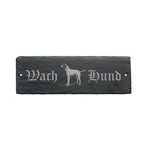 wetterfestes Schild « WACHHUND ENGLISH POINTER » Türschild aus Schiefer - Hund 22 x 8 cm - Hund Dog