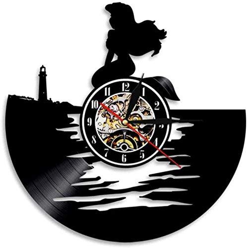 Gymqian Reloj de Pared Sirena Reloj de Pared Sirena Decoración de la Familia Kindergarten Muro Colgante Arte Magic Sea Girl Vinyl Record Rank Reloj de Pared Regalo de Dibujos Animad