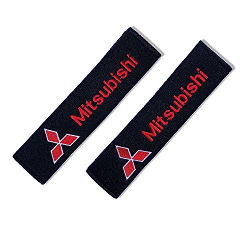 2 Piezas almohadillas protectoras para cinturón de seguridad, Almohadillas Protectores de Coche Hombro, para Niños y Adultos,Negro (MIT-SUBISHI)