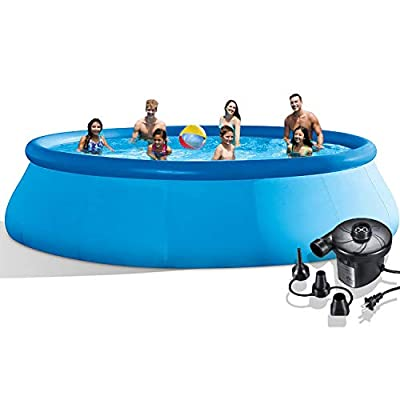 hmercy Inflatable Swimming Pool - 10 FTx 30 in Quick Set Family Pool for Backyard or Outdoor Portable Blow Up Above Ground Pool with Electric Pump for Kids and Adults