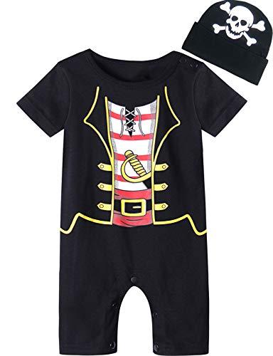 MOMBEBE COSLAND MOMBEBE COSLAND Baby Jungen Halloween Piraten Kostüm Strampler mit Hüte (0-6 Monate, Piraten)