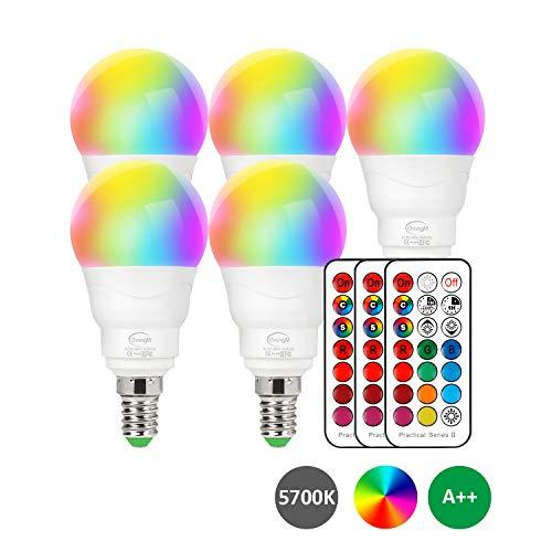 LED Lampe E14 RGBW, 5er Set LED Farbwechsel Birne 5 Watt (ersetzt 40W), Dimmbar Farben LED Glühbirne, Farbwechsel Glühbirne mit Fernbedienung | RGB und Kaltes Weiß 5700K