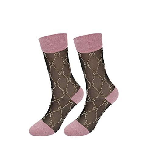 ZCX Ultradünne transparente Schwarze Glas Karte Strümpfe Weibliche Schlauch-Socken Silber Zwiebel Kristall-Seiden-Socken D Brief Retro Gold-und Silber-Strümpfe Socken (Color : D)