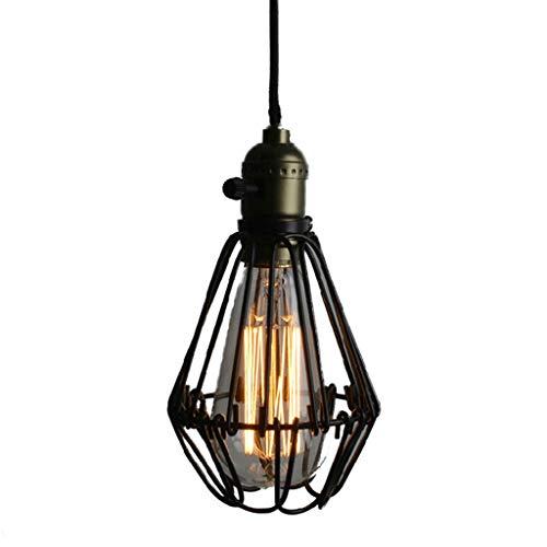 ZXS668 LED Luz de Techo/Araña de Luces Lámpara Colgante de la Vendimia de la eólica de Hierro Forjado de Cristal e27 Home Store Chandelier Nivel de energía 【A ++】 (Color : Black)