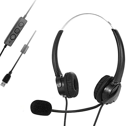 Auriculares USB con micrófono, 3,5 mm CallCenter Headset, ordenador ligero, auriculares con...