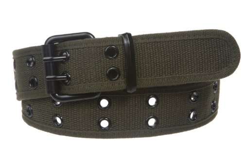 Double Hole Grommets Canvas Web Belt, Olive | xl (38'~40' waist)