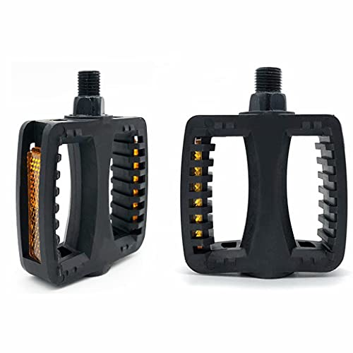 Mountain Bicycles Pedals Flat plastic Lightweight Bicycle Platform Pedals Bicycle Accessories,Black,7.6cm×9.6cm×2.4cm