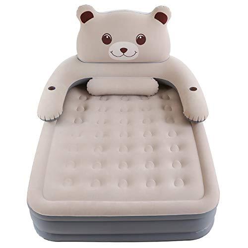 Jieoy Aufblasbare Matratze Single Double Air Cushion Bed Startseite verdickte Aufblasbare einfache bewegliche Nette Bären-Matratze Casper PVC-Haupt (Size : A)