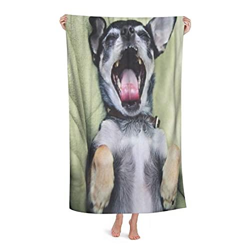 "Superfine Fiber Large Light Bathroom Sheet Absorbent,Dog Cute Chihuahua in Green Fuzzy Puppy Screaming Animal Best Friend,Beach Bath Towel Blanket for Women Men Family Hotel Home Decor,32"" x 52"""