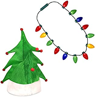 Windy City Novelties Ugly Sweater Christmas Party Kit - Green Christmas Tree Holiday Hat + LED Christmas Bulb Necklace Combo