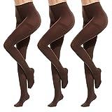 XYNH Medias Opacas Negras, Medias de Mujer para otoño e Invierno, Medias Sexy Desnudas Transparentes (3 Pares)