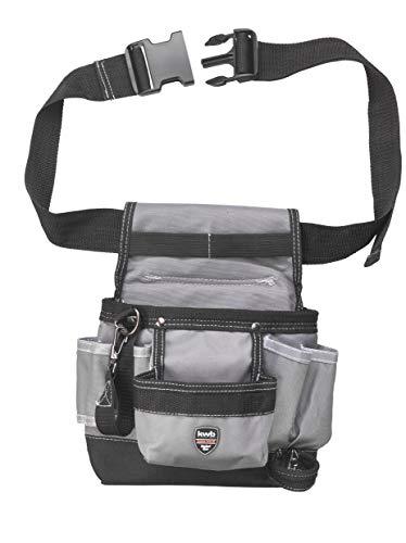 kwb Werkzeug-Gürtel aus Nylon mit Nageltasche, großen und kleinen Taschen, Hammerschlaufe und Schlaufe mit Karabinerhaken