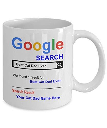 Taza personalizada para papá gato - La mejor taza de café para papá gato - Nombre personalizado Regalos para papá gato - Regalo para papá gato - Regalos de cesta de agradecimiento para el aniversario