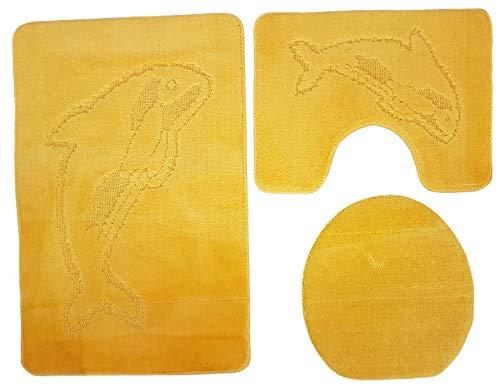 Ilkadim Delphin Badgarnitur 3 TLG. Set 55x85 cm einfarbig, WC Vorleger mit Ausschnitt für Stand-WC (gelb)