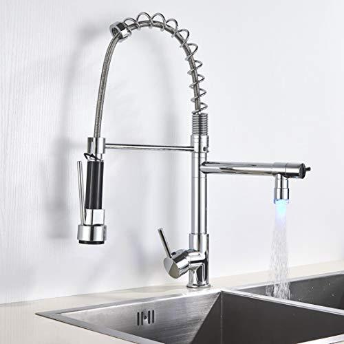 Saeuwtowy - Grifo de cocina con dos chorros con ducha flexible y giratoria retráctil para fregadero de latón duradero para grifo de ducha, latón cromado