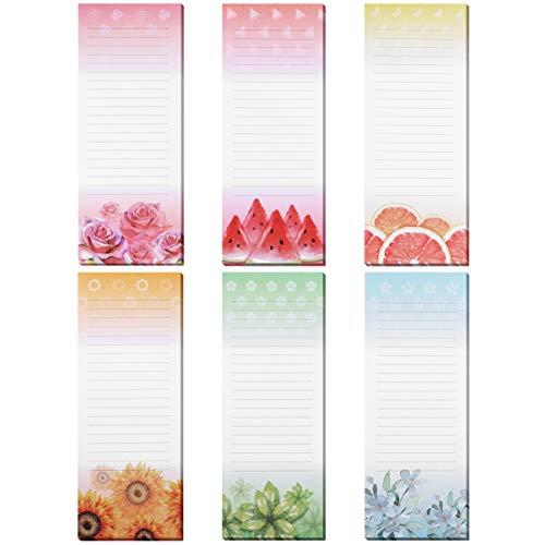 STOBOK 6-Pack Cuadernos Magnéticos para el refrigerado, tiendas de comestibles, recordatorios y tareas de la casa, coloridos diseños de flores y frutas, 60 hojas por bloc de notas, 23 x 9cm