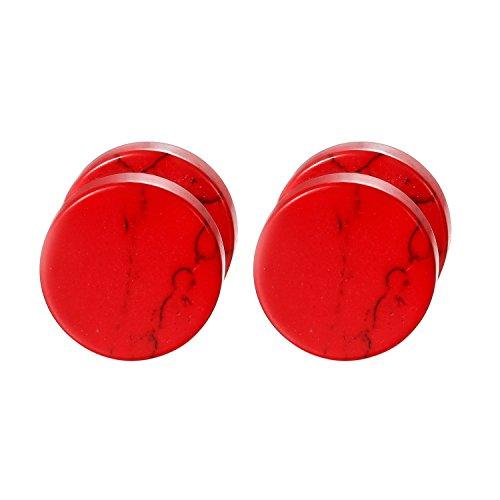 Flongo Pendientes mujer hombre, Pendientes de piedras rojos tapones redondos acero inoxidable pendientes 1CM, Pendientes originales para fiestas, 1 Par