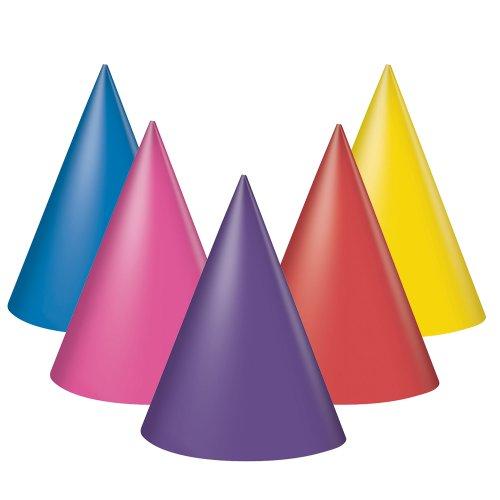Unique UK Lot de 8 chapeaux de fête en papier - Couleurs assorties : bleu, rouge, rose, violet et jaune