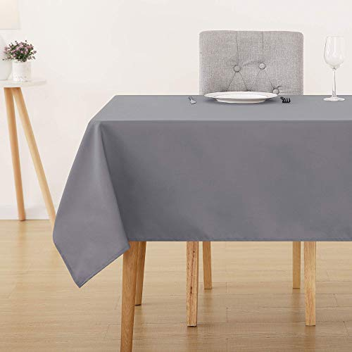Deconovo Oxford Water Resistant Rectangular Tablecloth Wipeable Table Covers for Garden Table 137x274cm(54x108in) Grey