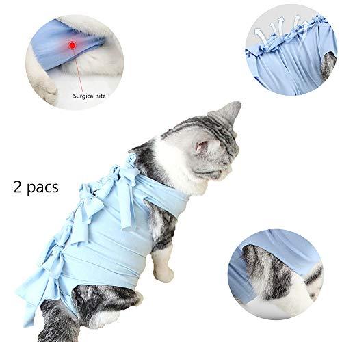 WTTTTW Traje de recuperación para Gatos, Alternativa de collarín Transpirable de algodón para Gatos y Perros después de la cirugía Use 2 Paquetes