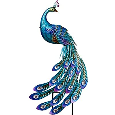 TERESA'S COLLECTIONS 41.5 Inch Peacock Stake and Metal Wall Art Décor, Dual Use Garden Statues Artwork for Outdoor Patio Yard Indoor Home Decorations