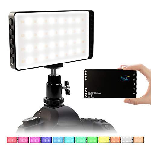 Luz de Video LED RGB, Luz de Cámara LED 2500K hasta 8500K Luz LED Cámara RGB Batería Recargable de 4000 mAh Incorporada, Adaptador de Zapata de 1/4