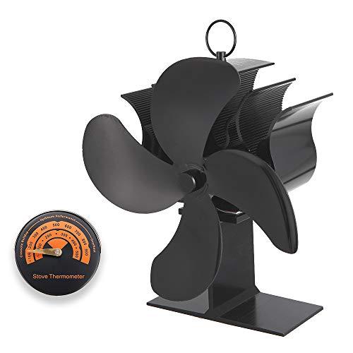 Ventilador de Estufa de 4 Palas, Ventilador de Chimenea con Termómetro, Funcionamiento Silencioso Automático, Ventilador de Estufa de Calor para Estufas de Leña/Leña/Chimenea