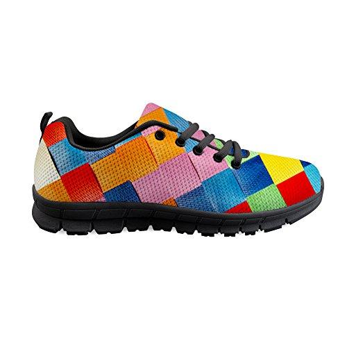 Shinelly Sportschoenen voor heren, kleurrijk vierkant patroon, loopschoenen, sneakers, ademend, lichte trailloopschoenen