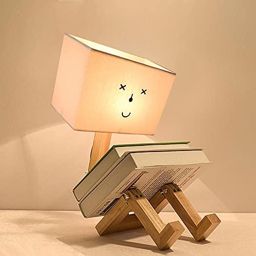 AUA Lampada da Scrivania Robot Creativo, Lampada da Tavolo con Corpo in Legno e Paralume in Tessuto, luci da scrivania Creativa E27, per Camera da Letto, Studio, Camera dei Bambini
