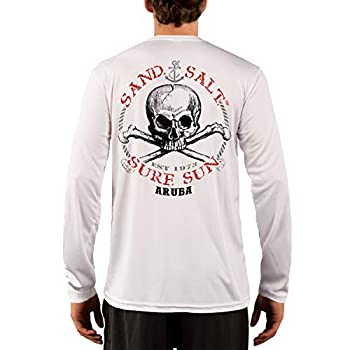 SAND.SALT.SURF.SUN Aruba Skull Men s UPF 50+ UV Sun Protection Performance Long Sleeve T-Shirt XXX-Large White
