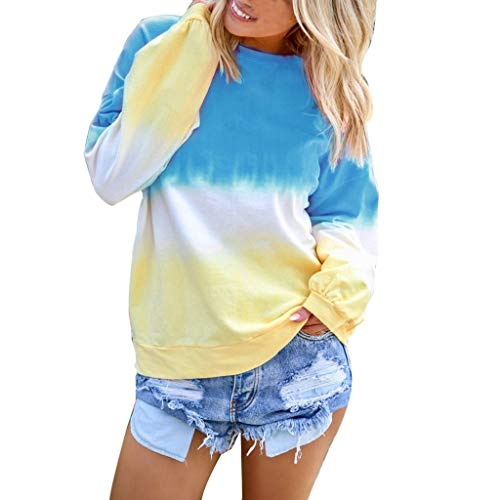 HGWXX7 Women's Casual Gradient Long Sleeve Shirt Tops Pullover Sweatshirt Blouse Plus Size Blue
