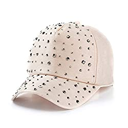 Shiny Sequins Casual Sports Beige Cap Adjustable & Breathable