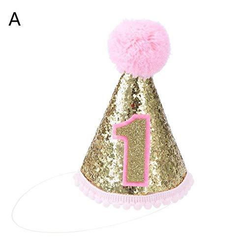 WSJKHY Glitter Prince Crown roze/blauw 1. 2. Jaar oud verjaardag douche verjaardag party decoratie foto rekwisieten A