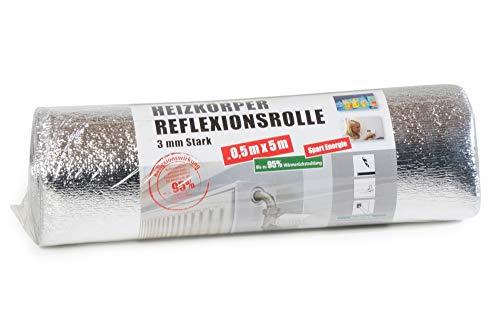 Reflexionsfolie, 500x50cm, Reflektionsfolie Heizkörper, Reflektionsplatte, Reflexionsrolle, Wärmerückstrahlung 95%, 3mm dick, Heizung Isolierung, Heizkosten sparen und Umwelt schonen.