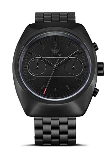 Adidas Watches Process_Chrono_M3 5 Link Stainless Steel Bracelet with Folding Buckle, 20mm Width (34mm) - All Black