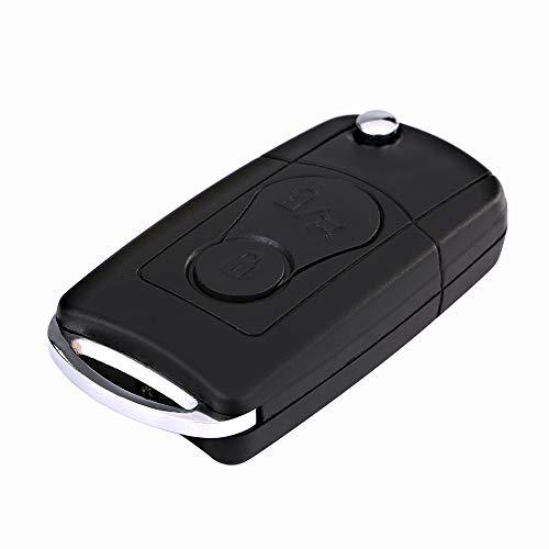 Estojo para chave, controle remoto dobrável com 2 botões e porta-chaves para carro
