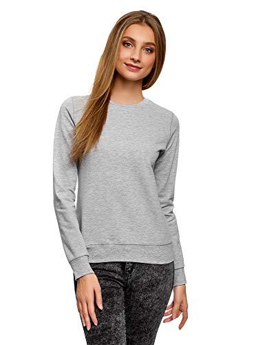 oodji Ultra Damen Baumwoll-Sweatshirt Basic, Grau, DE 36 / EU 38 / S
