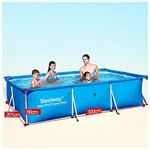 YKHOME Grande Piscina, Centro di Nuoto per Bambini E Adulti,con Staffa in Tubo d'Acciaio, Rettangolare da Giardino Stagno da Pesca di Grande capacità Ispessito Blu,300 * 201 * 66 cm