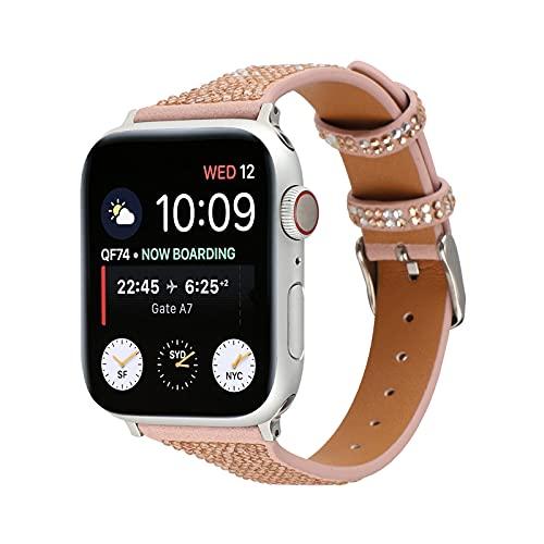KAEGREEL Correa para Apple Watch 44 mm 42 mm, Correa de Repuesto de Cuero Genuino Compatible con Apple Watch SE Series 6 5 4 3 2 1,42mm/44mm