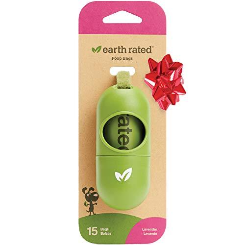 Earth Rated DISPGREEN - Dispensador para bolsas de residuos para perros con 15 bolsas biodegradables de popa y lavanda