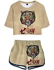 WANHONGYUE Anime Nanatsu No Taizai The Seven Deadly Sins Impreso en 3D Camiseta y Pantalone Cortos 2 Piezas Conjunto Niñas Mujer Crop Top T-Shirt y Shorts Set