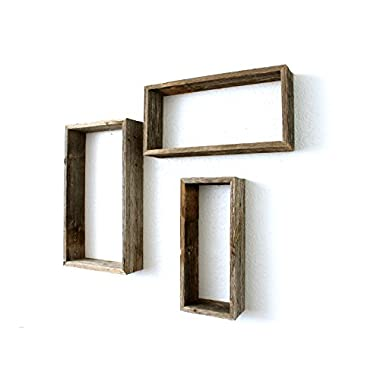 BarnwoodUSA | Rustic Farmhouse Floating Rectangle Shelves | Made of 100% Reclaimed and Recycled Wood | Open Shadow Box Style To Display Pieces or Show Off By Themselves | Weathered Gray